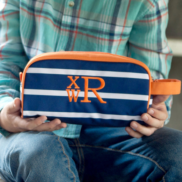 Monogrammed Navy Striped Dopp Bag for Boys
