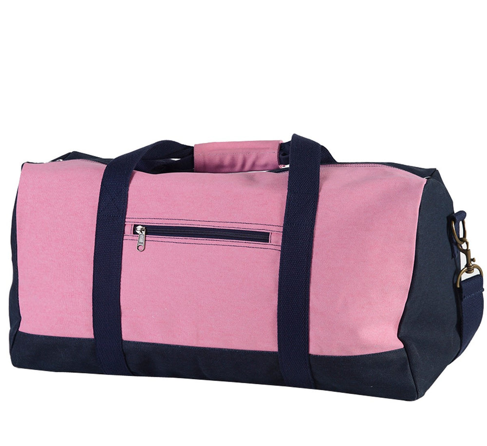 Personalized Pink & Navy Canvas Duffel Bag