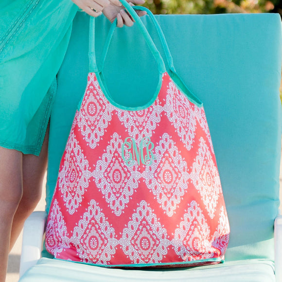 Personalized Coral Beach Bag for Women