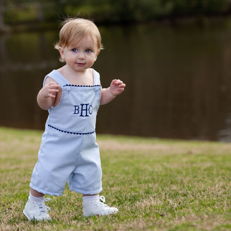 Blue & White Pin Stripe Boy Shortall - inthisveryroom