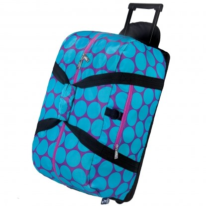 Big Aqua Dots Rolling Duffel Bag