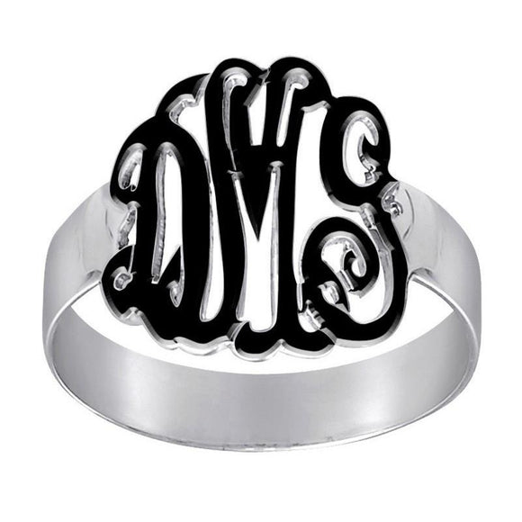 Enameled Monogrammed Ring - Silver