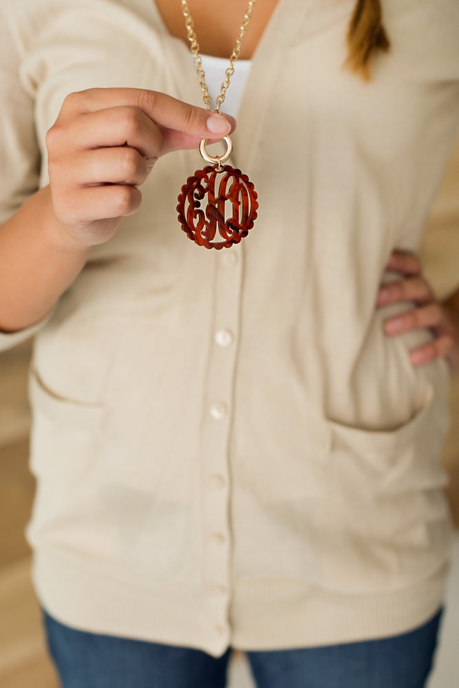 Monogram Scalloped Acrylic Necklace - Many Colors!