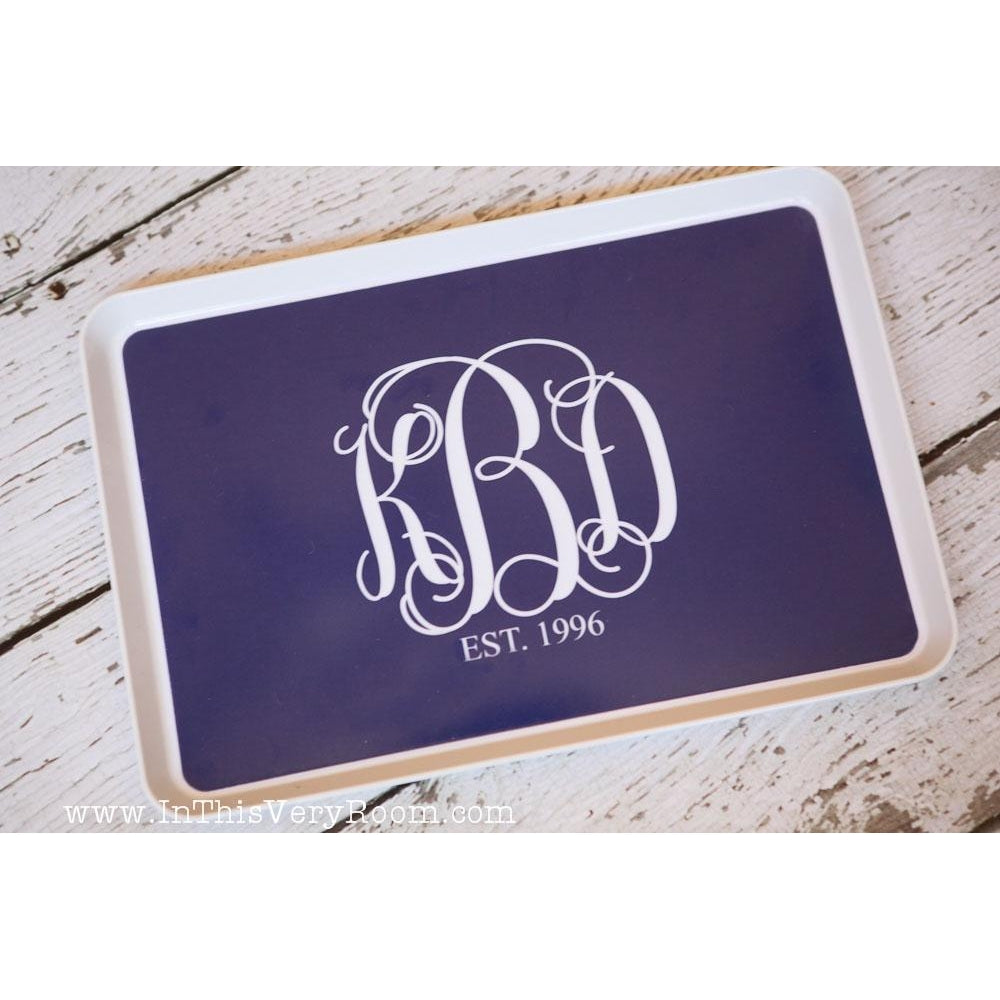 Monogram Tray with Established Date - Great Wedding Gift!