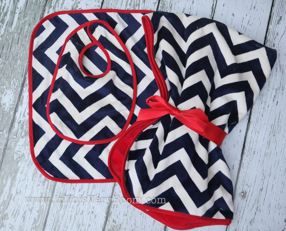 Red & Blue Chevron Baby Blanket, Bib & Burp Gift Set