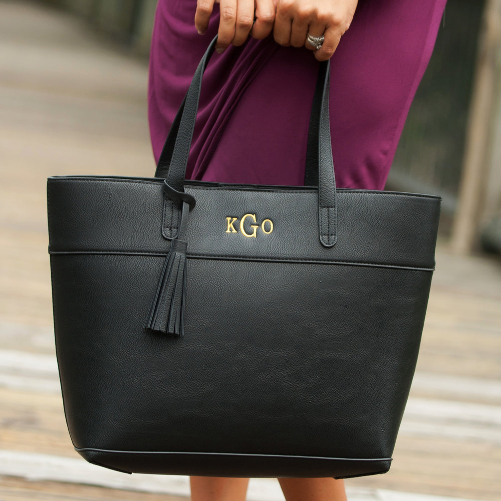 Monogrammed Black Faux Leather Tote Bag for Women