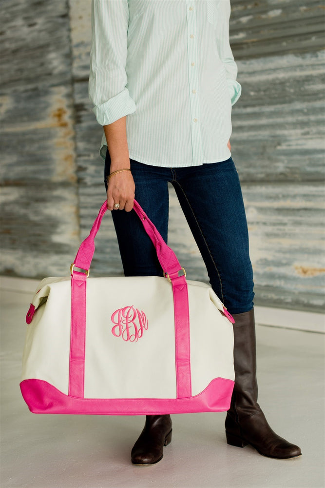 Pink & White Canvas Weekender Duffel Bag