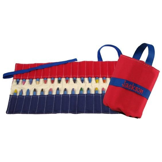 Crayon Keeper Red & Blue for Boys - Personalized
