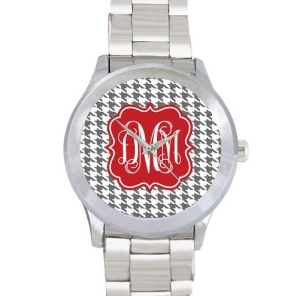 Houndstooth Print Watch - Stainless Steel