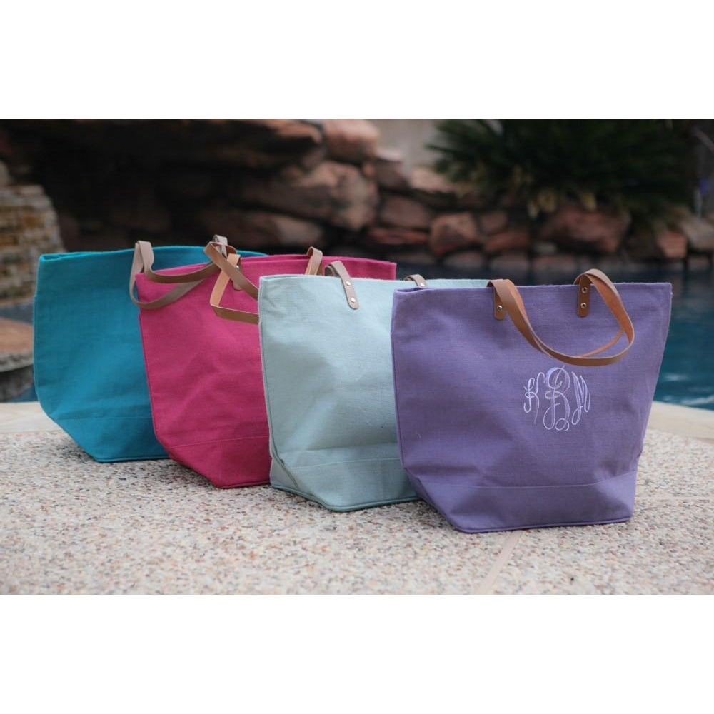 Monogrammed Jute Totes - Several Colors!