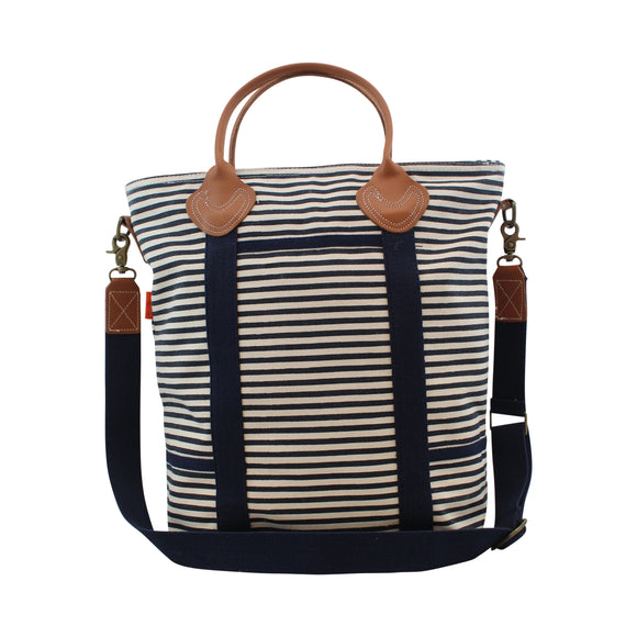 Navy Striped Tote Bag with Leather - Personalized