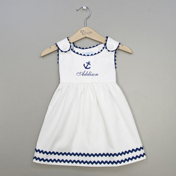 Monogrammed Anchor Baby Dress - Toddler