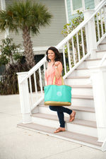 Mint Canvas Tote with Gold Trim