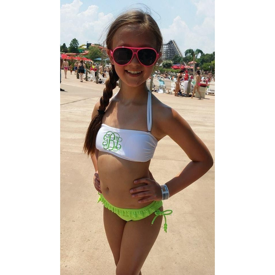 Monogrammed Swimsuit Bandeau Tops For Girls Bathing Suit