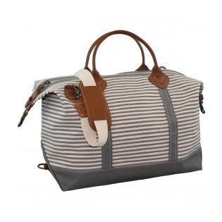 Canvas Grey Striped Weekender Bag with Leather