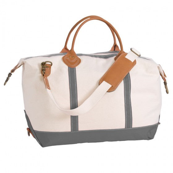 Canvas Grey & White Weekender Bag with Leather