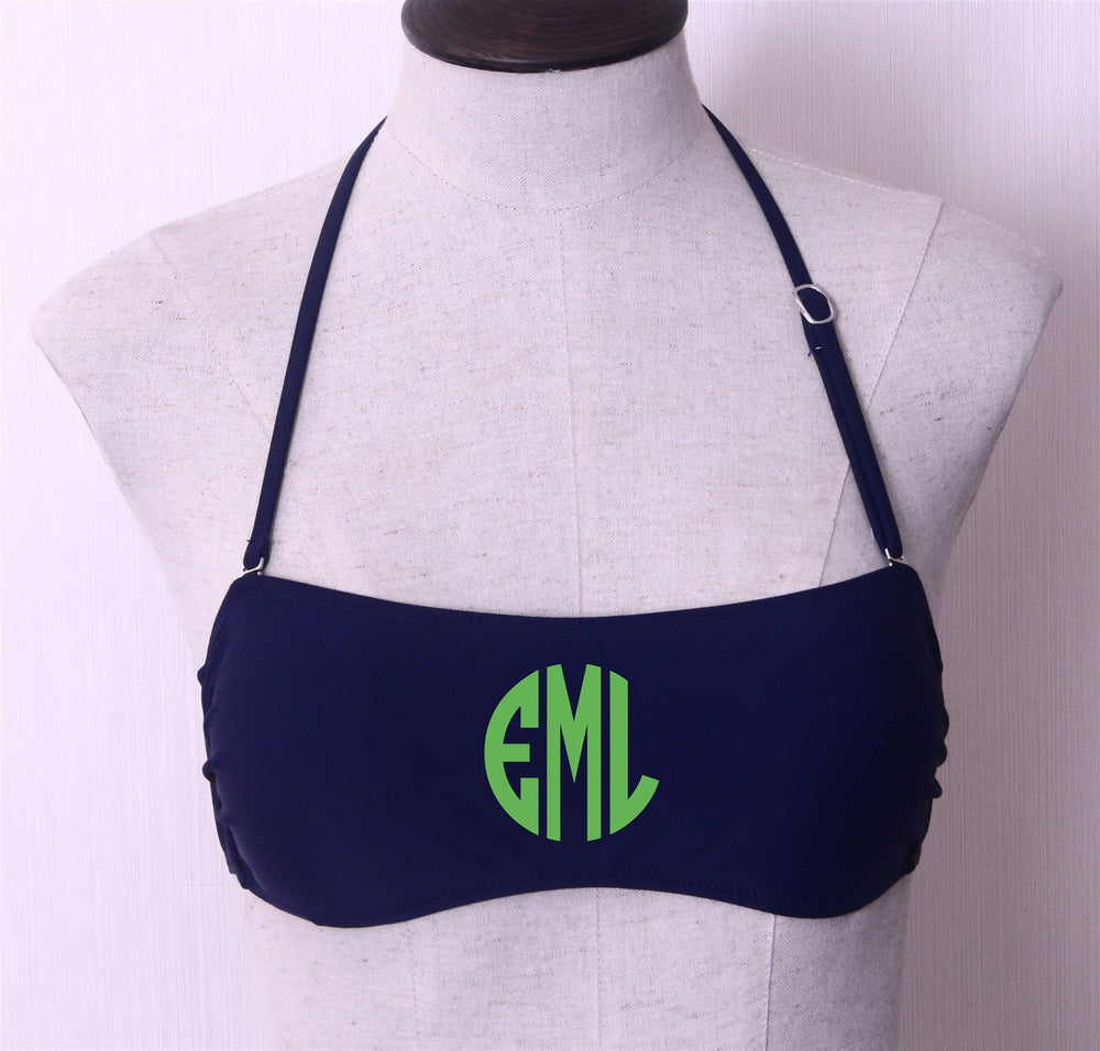 32b34371131c4 Monogrammed Swimsuit Bandeau Tops - Personalized Strapless Bathing ...