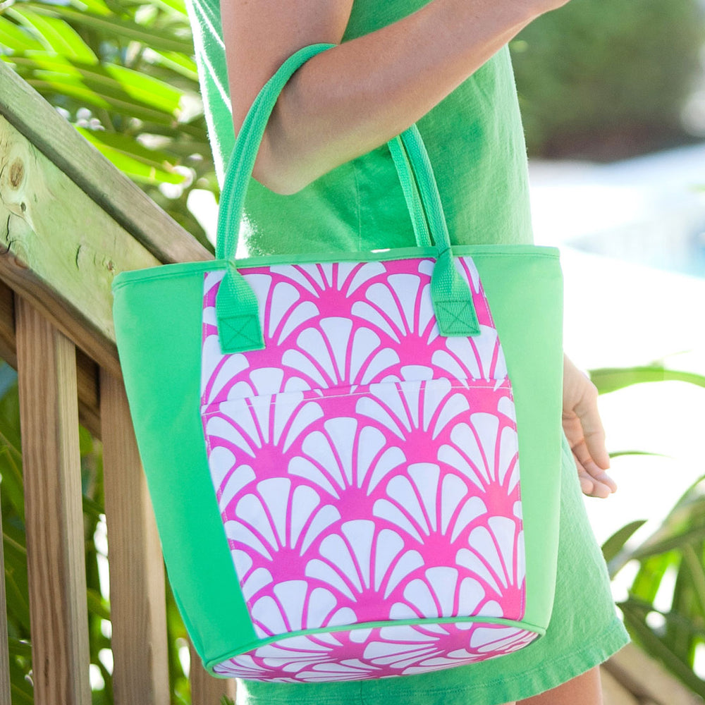 Personalized Pink & Green Cooler Tote for Women