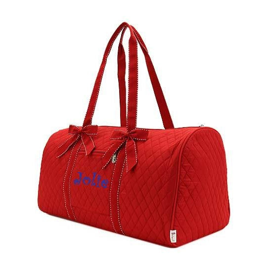 Personalized Red Quilted Duffel Bag for Girls
