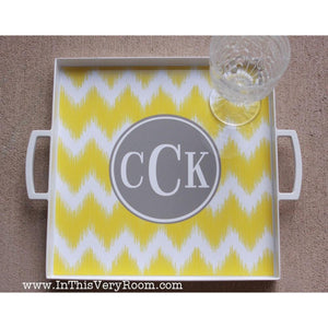 Fun Chevron Tray with Handles