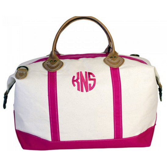 Canvas Pink & White Weekender Bag with Leather