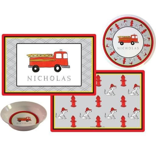 Firetruck Kids' Dish Set