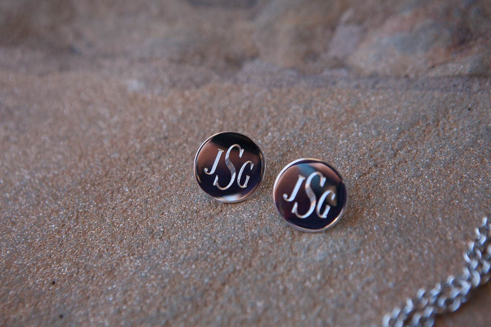 Monogram Silver Post Earrings