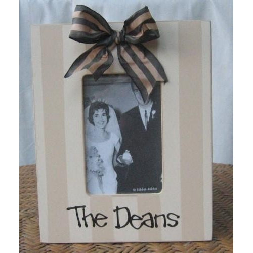 Personalized  Cream Stripe Frame With Bow