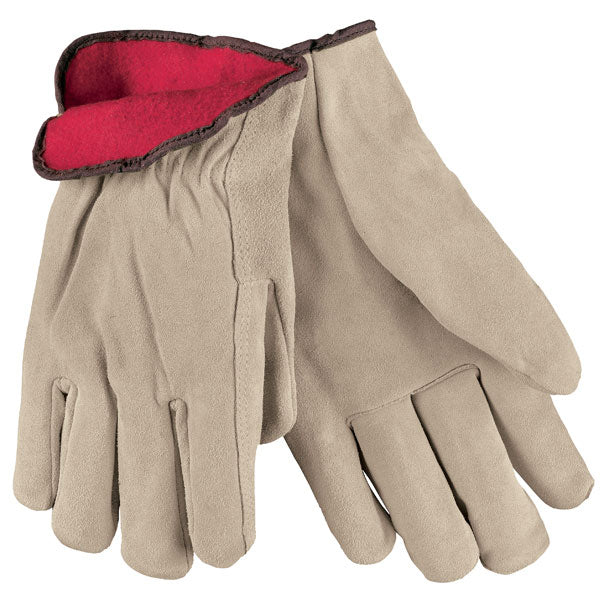 Fleece Lined Cowhide Grain Leather  Ropers Gloves