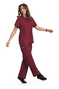 Mobb 308/312 V-neck Three Pocket Scrub Top with Dolman Sleeves . Boot Cut Flip Flap Scrub Pant