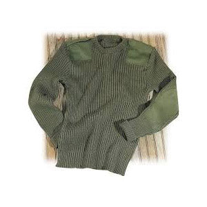 Crew Neck Military Wool Sweater