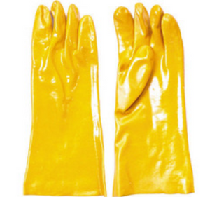 "Yellow Unlined PVC Coated 12"" Gauntlet Gloves"