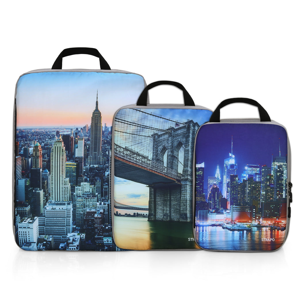 Strapo Packing Cube Set – 3 Sizes Small, Medium and Large – New York Design – Travel Cubes Organizer Set – Lightweight Travel Accessories