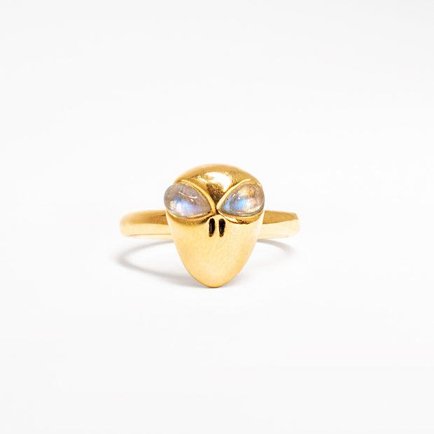14k gold retro alien ring jewelry with moonstone eyes