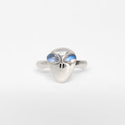 Sterling silver retro alien ring jewelry with moonstone eyes