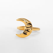 14k gold crescent moon man ring jewelry