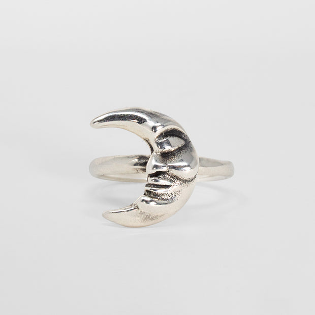 Sterling silver crescent moon man ring jewelry