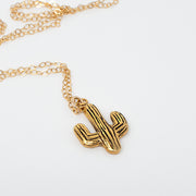 14k gold plated saguaro cactus necklace