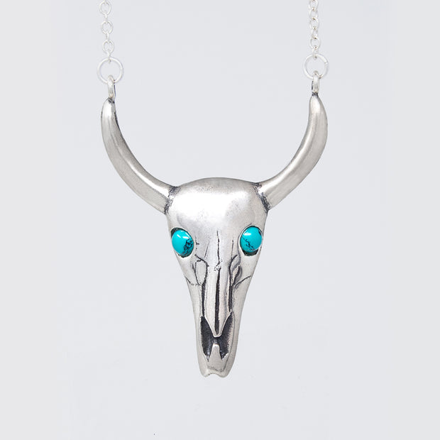 Longhorn Necklace with Turquoise Eyes