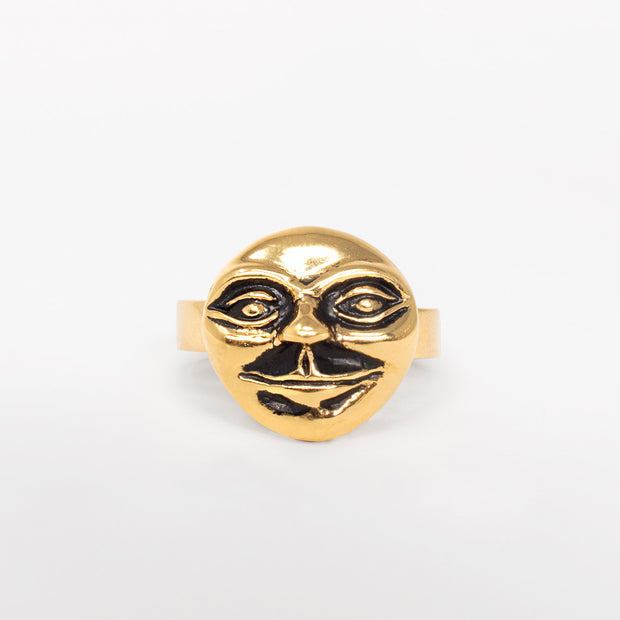 14k gold moon man ring jewelry