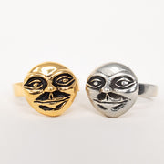 14k gold and sterling silver moon man ring jewelry