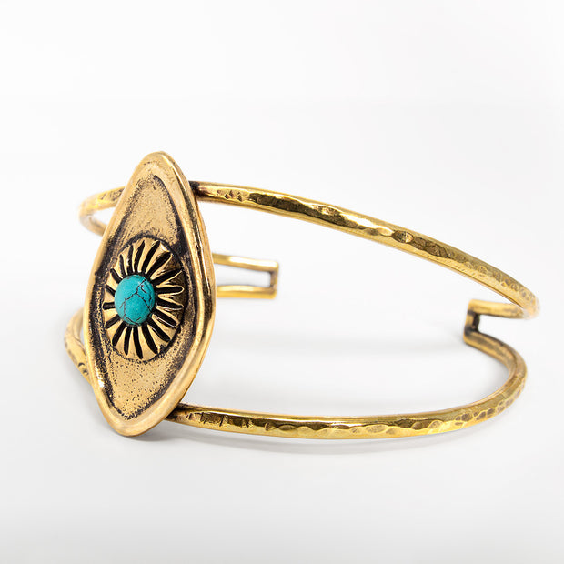 Brass all seeing eye cuff bracelet with turquoise stone