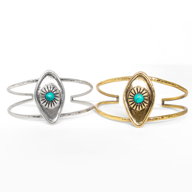 Sterling silver and brass all seeing eye cuff bracelet with turquoise stone