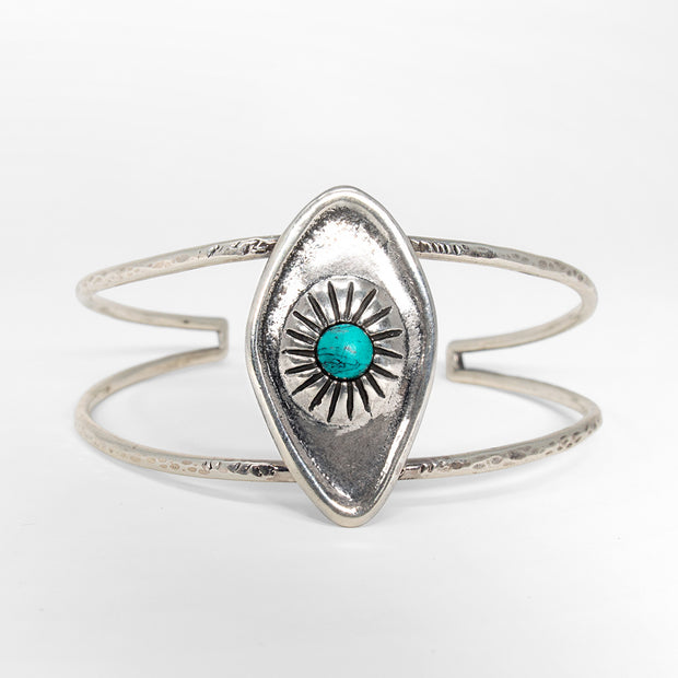 Sterling silver all seeing eye cuff bracelet with turquoise stone