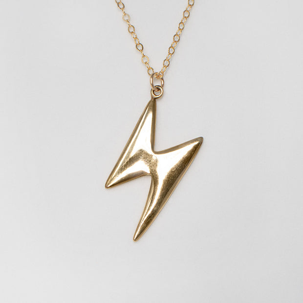 14k gold ziggy stardust lightning bolt necklace