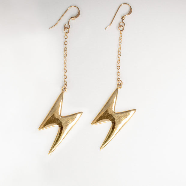 14k gold plated ziggy stardust lightning bolt earrings