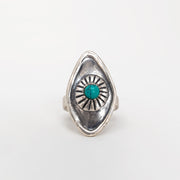 Sterling silver all seeing eye ring jewelry with turquoise stone
