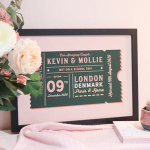Load image into Gallery viewer, Personalised Movie Ticket Anniversary Print