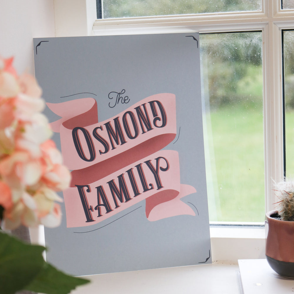 Personalised Family Banner Typographic Print