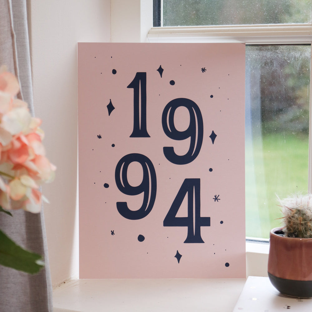 Personalised Birth Year Date Print